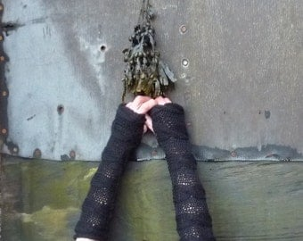 Unisex Lovey Mitts, arm warmers, fingerless gloves, hand knitted fingerless mittens with cable detail, black, READY TO SHIP