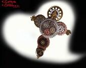 Steampunk Necklace Metal Cross, Handmade, Gears, Steampunk Pendant, Vintage Hardware, Brass, Copper Jewelry, Pocket Watch Parts, Elgin Watch