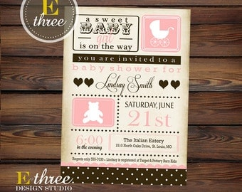 Vintage Baby Girl Shower Invitation - Pink and Brown Carriage Baby Shower Invitations - Girl's Shower Invite
