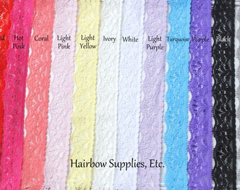 Lace Elastic GRAB BAG 1 inch - 10 yards -  Baby Headbands - Hairbow Supplies, Etc.