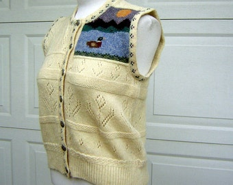 "Novelty Hand Knit Wool Sweater Vest - Duck Dynasty Bust 38"" Vintage 90s"