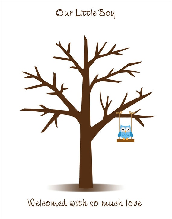 download baby shower fingerprint tree for the baby boy with baby