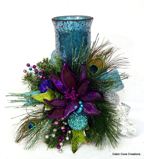 Red Turquoise Not Just For Holiday Decor: Peacock Christmas Floral Arrangement Centerpiece Candle Holder