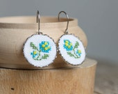 Embroidered floral earrings - forget-me-not earrings - surgical steel ear wires - e030