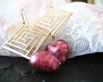 Earrings with rose murano beads ooak