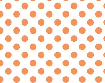 SALE - One Yard - Medium Dots in Orange by Riley Blake - Orange dots on white