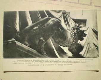 Lion en bois sculpte de la Maison des Orfevres - Early 1900s - Antique French Postcard