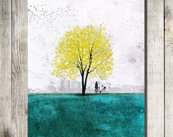An Afternoon Under the Tree 11x14. tree art print giclee print,tree art,print,art collectibles,wall art,wall decor,wall decor,bicycle art