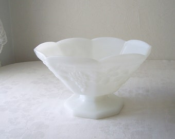 white milk glass pedestal bowl - footed compote - grapes and ivy design - vintage fruit bowl