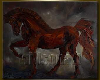 Original Horse Oil Painting Textured Palette Knife Modern Contemporary Animal Art 24X30 by Willson Lau