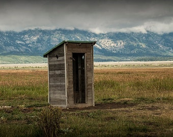 Old Outhouse by the John Moulton Farm in Mormon Row in the Great Teton Mountain National Park No.6613 - A Western Landscape Photograph