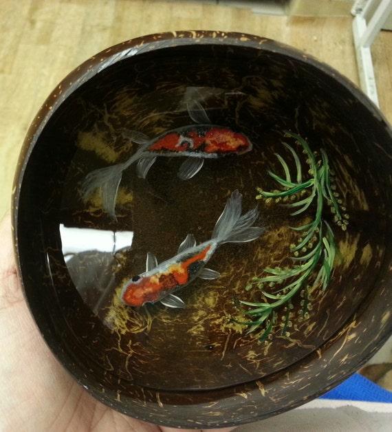 Handpainted original 3d resin fish painting by for Resin koi fish
