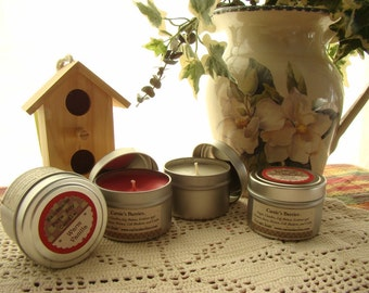 4oz Soy Candle Tin. Long and Clean Burn. Great Scent Throw.  Excellent housewarming or teacher's gift.