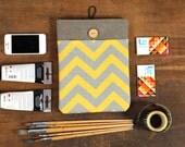 60% OFF Winter SALE Dark Linen iPad Case with yellow grey chevron print pocket. Padded Cover for iPad 1 2 3 4. iPad Sleeve Bag.