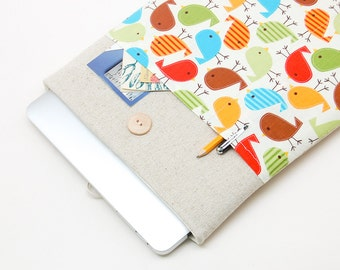 """50% OFF SALE NEW 2016 MacBook 13"""" Pro Case. MacBook 13 Case with colorful birds pocket. Case for MacBook 13 Pro Retina. Sleeve for Mac 13"""