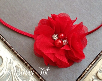 Red Baby Headband, Christmas Headband, Baby Headbands, Baby Girl Headband, Red Headbands
