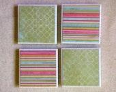 Green Quatrefoil and Pink Striped Ceramic Tile Magnets Set of 4 Handmade