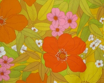Exotic Orange and Yellow Floral Print Pure Cotton Fabric--One Yard