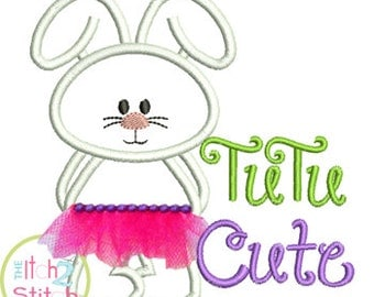 Tutu Cute Bunny Applique Design For Machine Embroidery Hoop Size(s) 4x4, 5x5, 6x6 and 7x7 INSTANT DOWNLOAD now available
