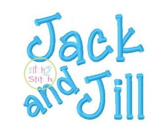 "Jack and Jill Embroidery Font 1.0"", 1.5"",& 2.0"" INSTANT DOWNLOAD now available"