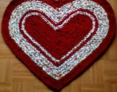 Crocheted Heart Rag Rug  32 x 28  repurposed linens
