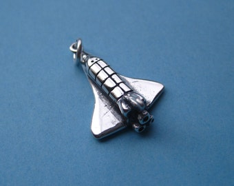 Sterling Silver Space Shuttle Pendant Charm