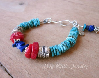 Turquoise Coral Lapis Silver Bracelet, Southwest, Cow Girl, Western, Ranch, Artisan Women's Bracelet, Handcrafted Bracelets