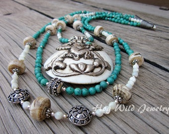Handcrafted Artisan Multistrand Turquoise , Tibetan Bone, Pendant Necklace, Women's Statement Necklace,