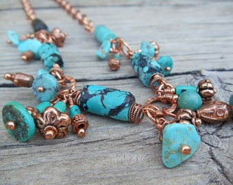 Handcrafted Artisan Turquoise Copper Charm Necklace