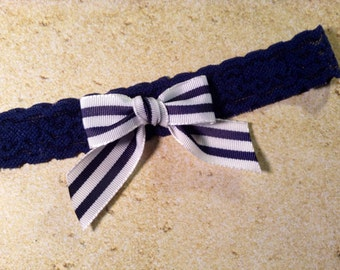 Navy Blue and White Stripes on Stretch Lace Wedding Garter Nautical Marine Boating and Sea Themed Wedding Perfect Something Blue Garter
