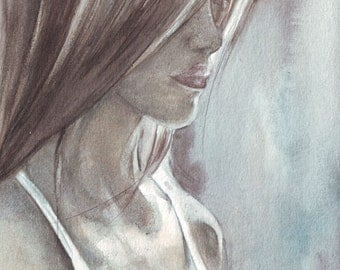 original watercolor painting / shadows light portrait / woman side profile / blue grey brown / white dress / long hair / H026