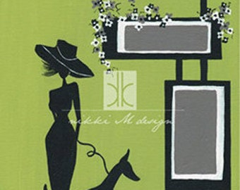 Modern Mid Century Print Woman Dog Silhouette Canvas painting 1920s