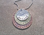 Mother Grandmother Great Grandmother Hand Stamped Hammered Necklace -  Sterling Silver Brass Copper