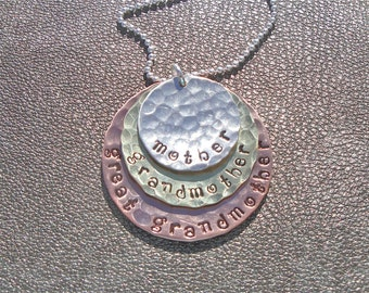 Mother Grandmother Great Grandmother Hand Stamped Hammered Necklace -  Sterling Silver Brass Copper - Gits for Mom - Mother's Day