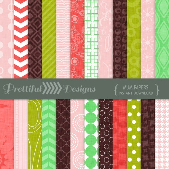 50% OFF SALE Digital Paper Pack  - Personal and Commercial Use - Mum (811)