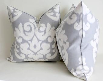 Pair of Kravet High End Linen Decorative Pillow Cover, Cushion, Throw Pillow, Ikat Pillow