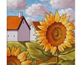 PAINTING ORIGINAL Acrylic on Canvas Yellow Sunflower Blooms Summer Cottages Ready to Hang Folk Art Modern Landscape Wall Decor Horvath 10x12