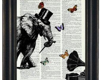 BOGO SALE Dancing Elephant Dictionary Art Print with HHP Signature Butterflies and Record Player Wall Decor Dictionary Print