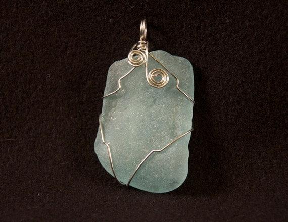 items similar to light blue sea glass pendant 22 on etsy