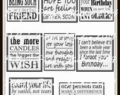 Subway Art Styled Variety Sentiments for Cards Digital Images printable download file