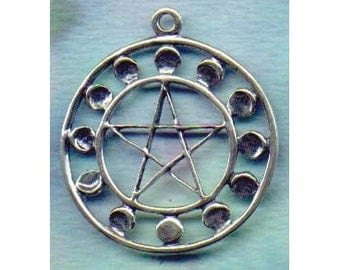 Lunar Phases Pentacle Pentagram Sterling Silver Wiccan Jewelry   Pent133