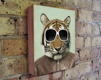 Tiger Art - Tiger in Sunglasses - Tiger Art Print - The Cool Tiger - Wood Block Print