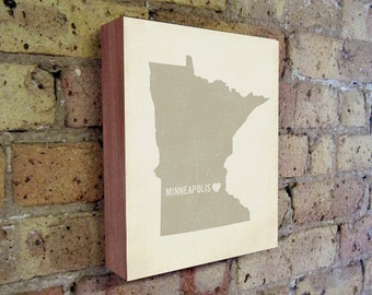 Minneapolis Art Print - Minnesota Art - Minneapolis Art - Minneapolis Minnesota - I Love Minneapolis - Wood Block Art Print