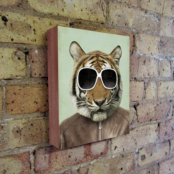Tiger Art - Tiger in Sunglasses - Tiger Art Print - The Cool Tiger - Wood Block Print