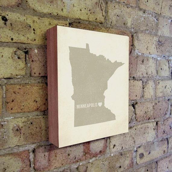 Minneapolis Art Print - Minnesota Art - Minneapolis Art - Minneapolis Minnesota - I Love Minneapolis - Wood Block Art Print
