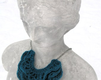 Christmas Gift for Mom or Teen - Crochet Collar - Anthro Inspired Necklace -  Collar Necklace  - Ruffle Necklace - Ruffle scarf  - Cowl