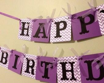 Birthday Banner - Girls Birthday Party Decoration - Purple Chevron
