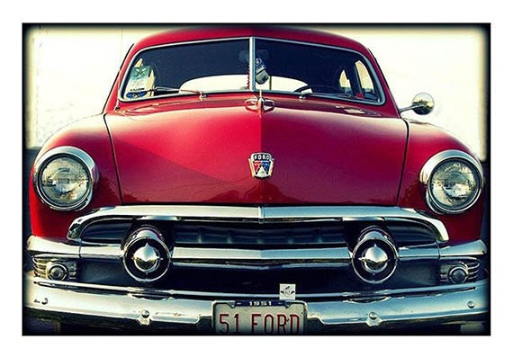 "Fine Art Photo, Vintage Look Photography, Car Photography -sweet -cherry- red ""Say Cheese"", fine art photography print"