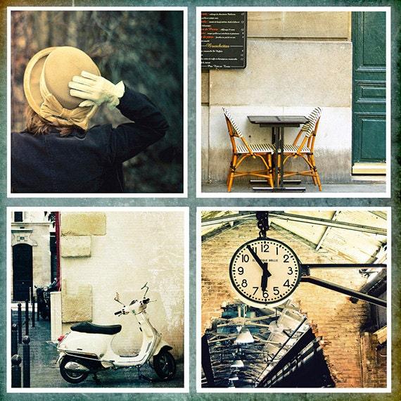 Fine Art Photography, Set of 4 5x5 Prints, Paris Photos, City Scene Photos