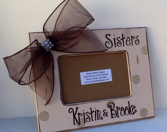 Hand Painted Sisters Frame in Khaki and Brown